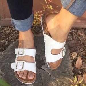 Shoes - White Vegan Leather double strap Sandal Slides